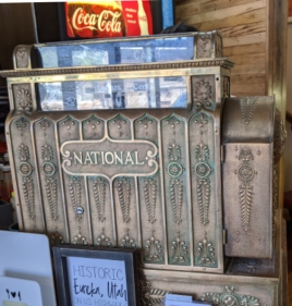 Old timey cash register at Porter's Place